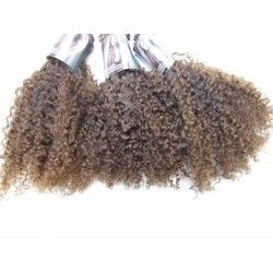 Afro kinky golden brown blond handgemaakte weave