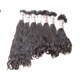 Double Drawn Wavy hair natural color hand tied weave