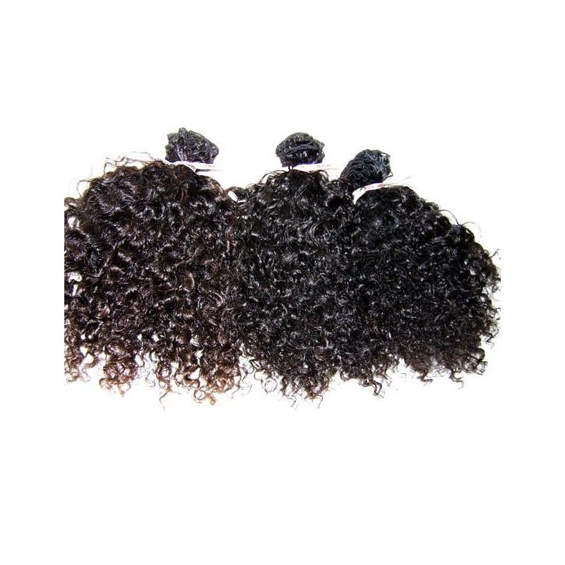 Kinky curly natuurlijk gekleurde handgemaakte weave