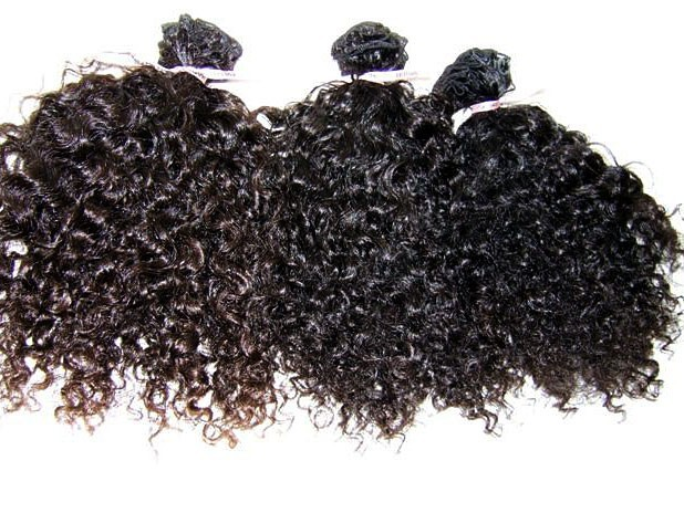 Kinky curly natural color hand tied weave wholesale