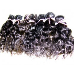 Curly natural color hand tied weave