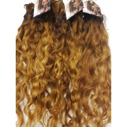 Lockiges golden brown blond handgeknüpfte Weft