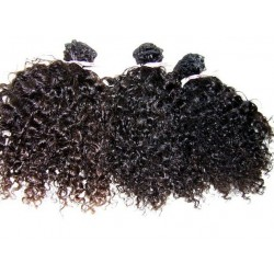 Kinky curly natural color hand tied weave