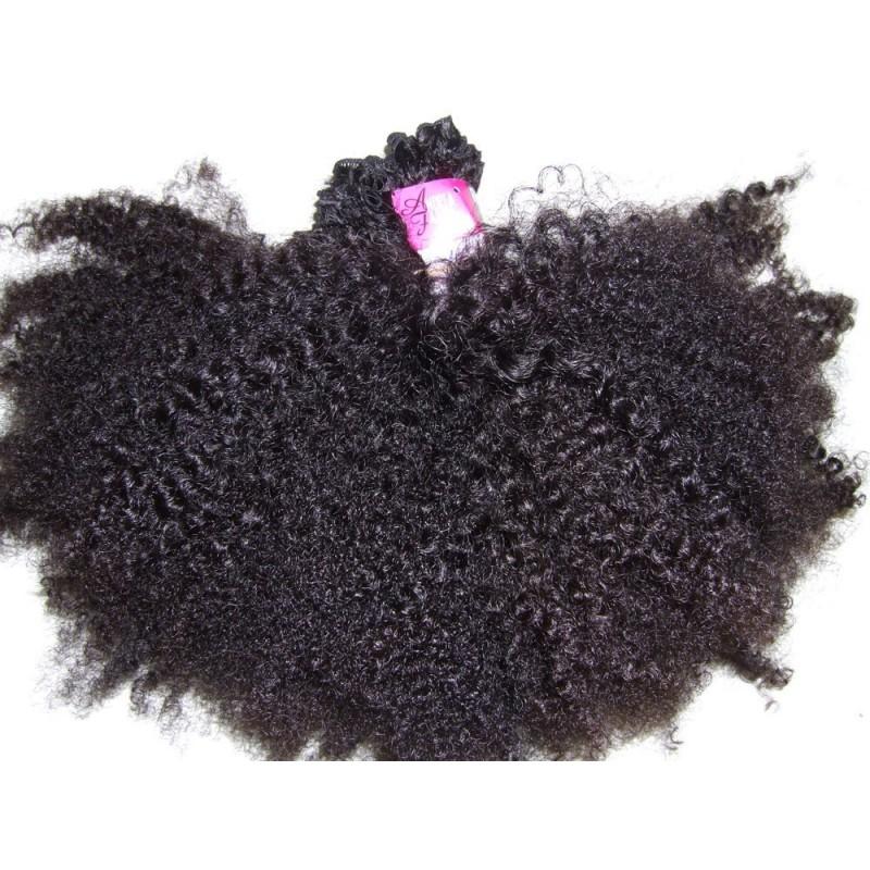 Afro kinky natuurlijk gekleurde handgemaakte weave