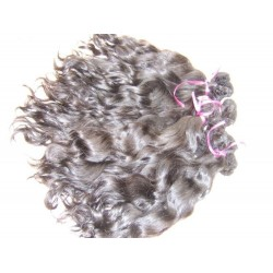 Wavy natural color hand tied weave